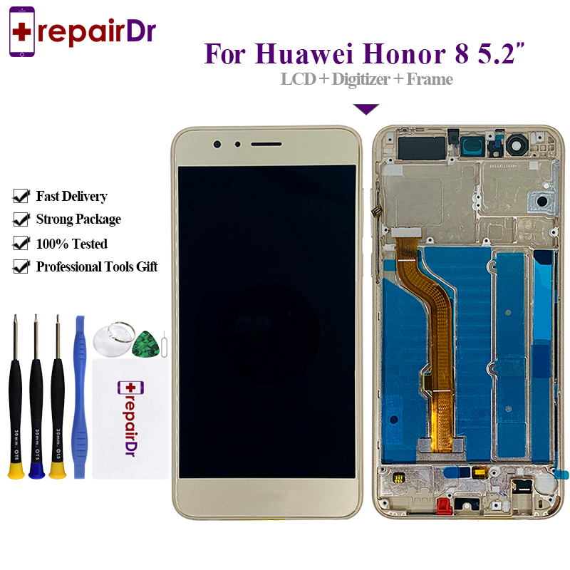 100% Tested <font><b>Original</b></font> Lcd For Huawei <font><b>Honor</b></font> <font><b>8</b></font> FRD-L09 Lcd <font><b>Display</b></font>+Touch Glass Digitizer+Frame Assembly Replacement For <font><b>Honor</b></font> <font><b>8</b></font> Lcd image