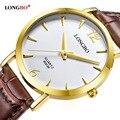 2017 longbo classic breve reloj de cuarzo de cuero de moda casual relojes hombres mujeres pareja reloj deportivo analógico reloj de la hora