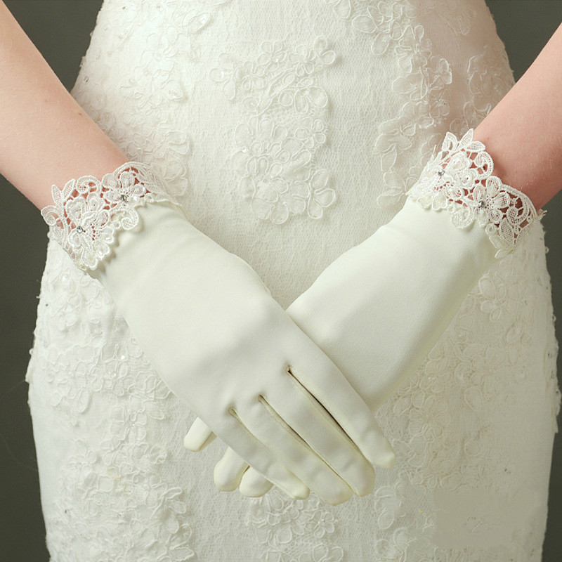New In Stock Satin Finger Bride Gloves Women Wedding Accessories