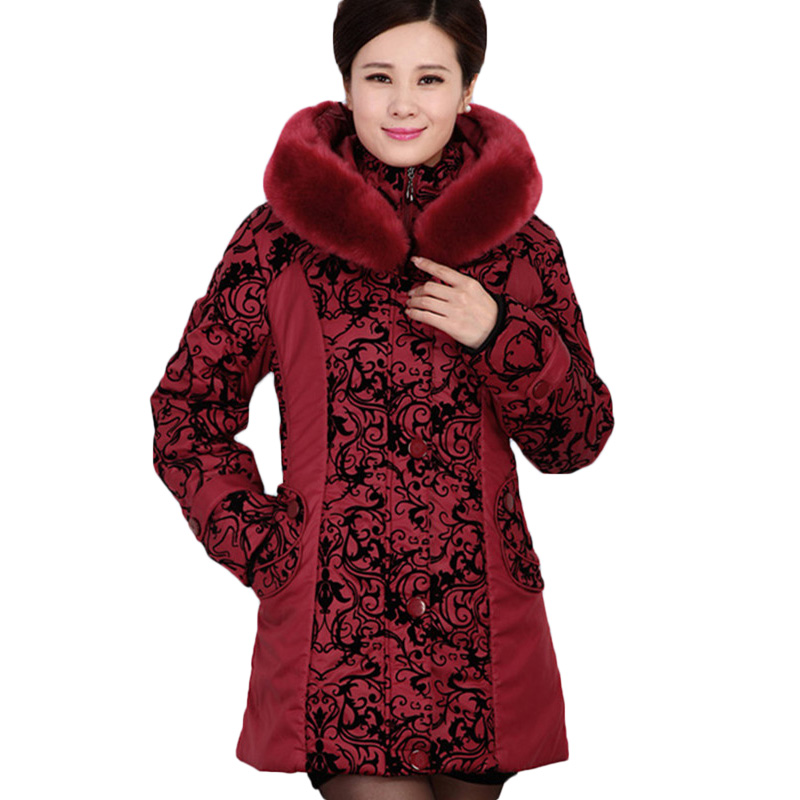 2017 New Middle-aged Winter Jacket Women Thicken Warm Cotton-padded Slim Female Plus Size 5XL Fur Collar Coat Female Parka SF047