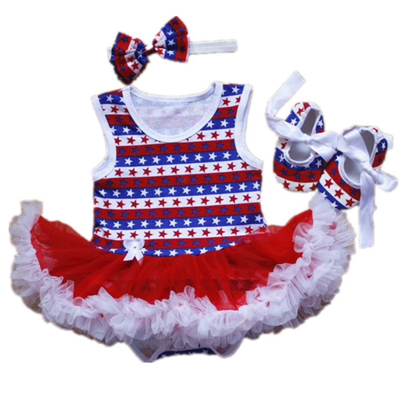 Baby Girls Outfits Newborn Stripe Star 4th Of July Bodysuit Tutu Crib Shoes Headband Kid Party Dresses Toddler Girl Clothing Set