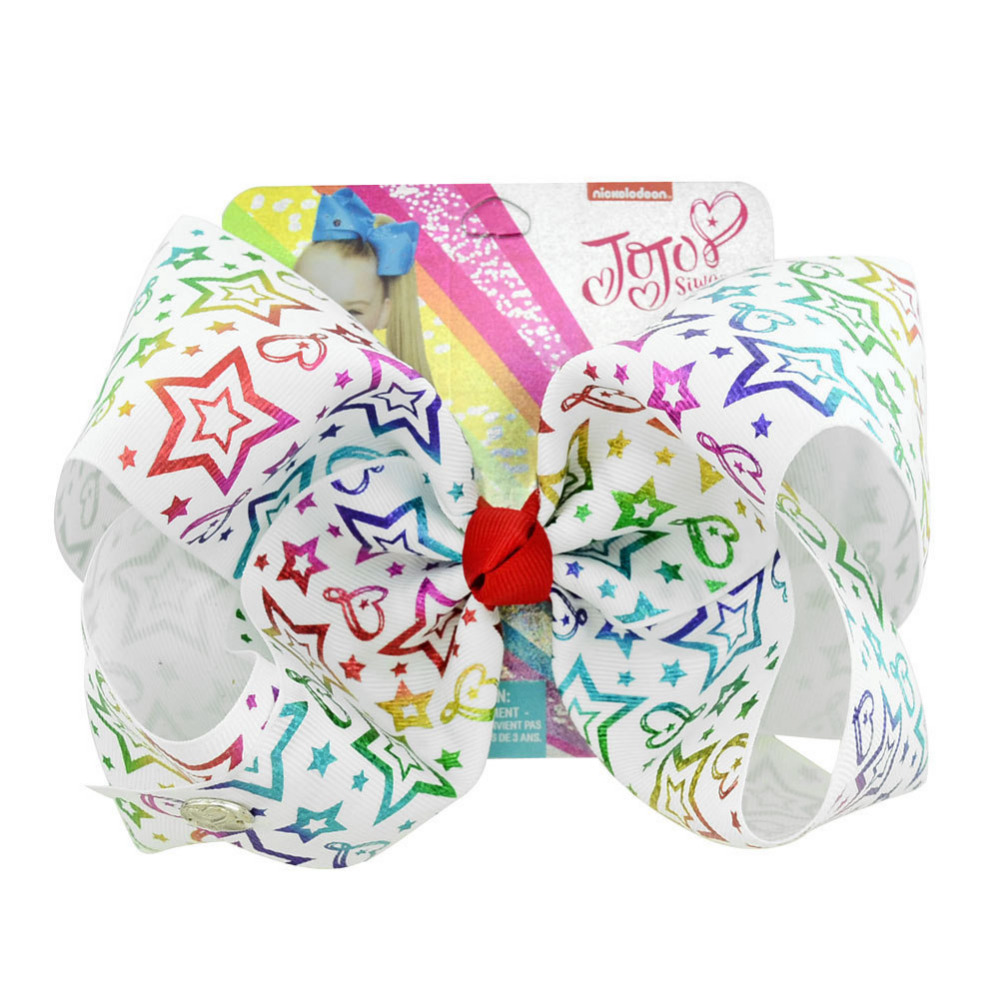 Jojo Siwa Hair Bows 8 Inch Large Bow Print stars love unicorn Grosgrain Ribbon With Alligator Clips For Kids Girls in Hair Accessories from Mother Kids