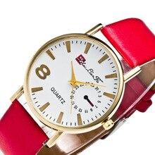 Мода Relogio цифровой 8 масштаба сплав золота циферблат красный кожаный ремешок Для мужчин Пара Спорт Кварцевые часы Черный наручные часы Для мужчин s часы C475
