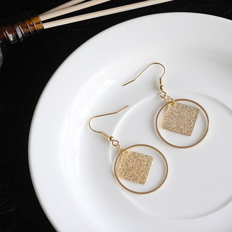 EJSPACE Fashion Simple Gold Drop Earrings Gold Round Pattern ...