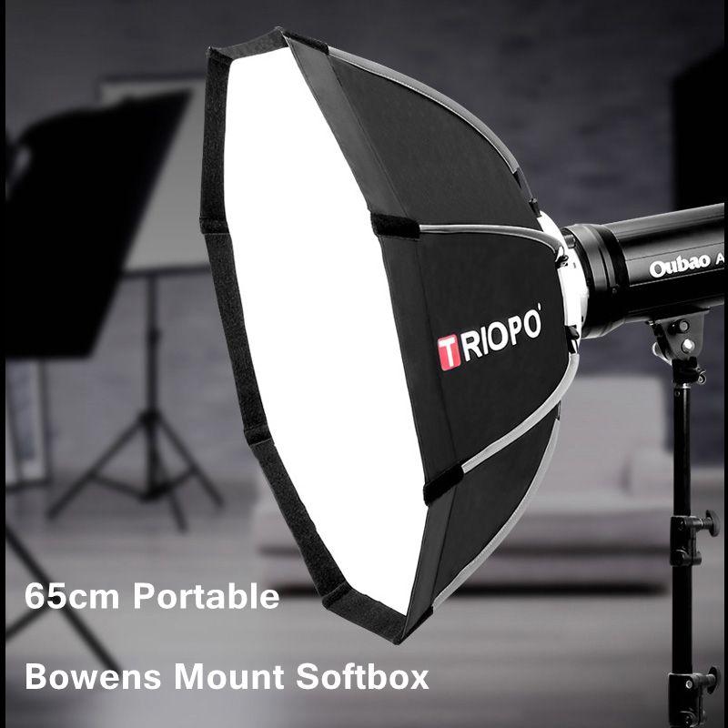 TRIOPO 65 см портативный складной восьмиугольник софтбокс w/Bowens крепление световой короб для фотостудии стробоскоп вспышка аксессуары