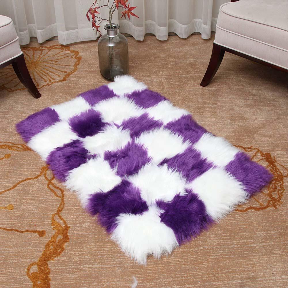 Faux Fur Artificial Skin Rectangle Fluffy Chair Sofa Cover