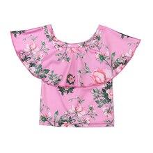Для маленьких девочек s с открытыми плечами футболки новорожденных для маленьких девочек короткий рукав Футболки модные 0-3Year Цветочные Футболки для Обувь для девочек