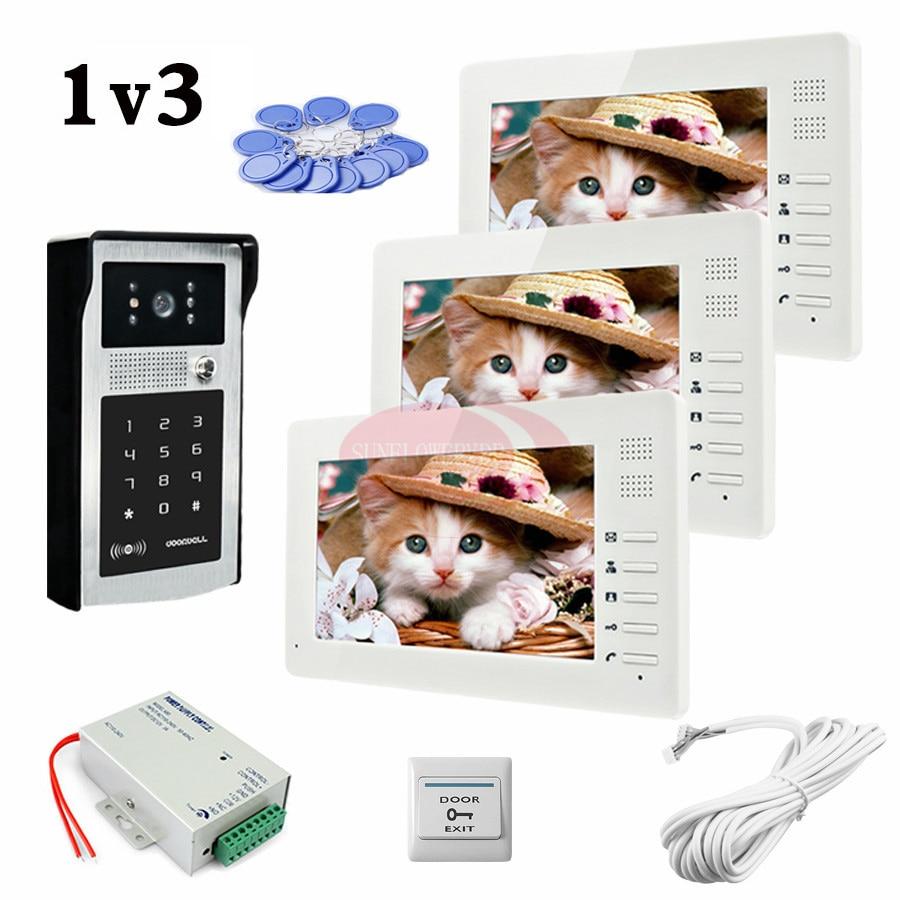 1v3 Sécurité À La Maison 7 pouce TFT LCD Moniteur Vidéo Porte téléphone Système D'interphone Avec RFID CARTE/Mot de Passe De Déverrouillage Caméra Extérieure DANS STOCK