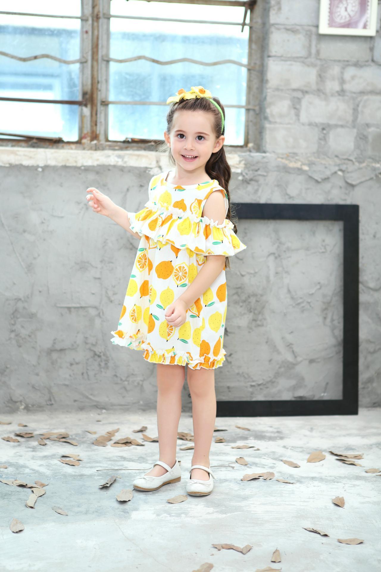 Lemon Printd Girls Dress 2018 New Summer Fashion Children Princess Dress Kids Children Clothes For 2 3 4 5 6 7 8 Years 6