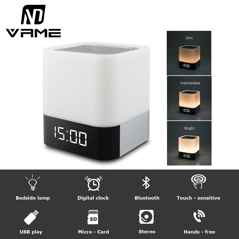 Vrme Night Light Bluetooth Speaker Portable Wireless Speaker with Microphone Smart Touch LED Mood Lamp Alarm Clock Radio TF Card