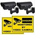 Piscando a Luz de Segurança do Manequim Câmera Falso IR LED Vigilância Bala CCTV Preto