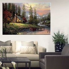 Printed Poster Wall Art Home Decor HD Prints Oil Paintings on Canvas a Peaceful Retreat Thomas Kinkade Landscape Beautiful