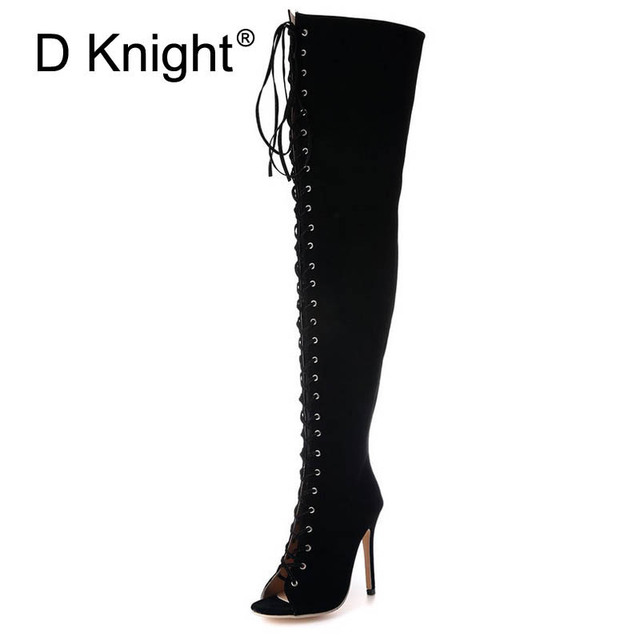 566d136dcca Women Thigh High Boots Summer Lace Up Long Motorcycle Boots Peep Toe Thin  Heels Over-