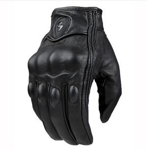 Мотоперчатки для мотоцикла мото перчатки Перфорированные мотоциклетные перчатки из натуральной кожи в стиле ретро. Водонепроницаемые мотоциклетные перчатки. Защитные мотоциклетные перчатки. Перчатки для мотокросса - Цвет: no perforation