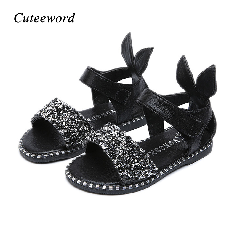 2019 Summer New Girls Sandals Casual Children Shoes Cute Rabbit Diamond Shoes Pink Silver Black Toddler Baby Kids Sandals Flats in Sandals from Mother Kids