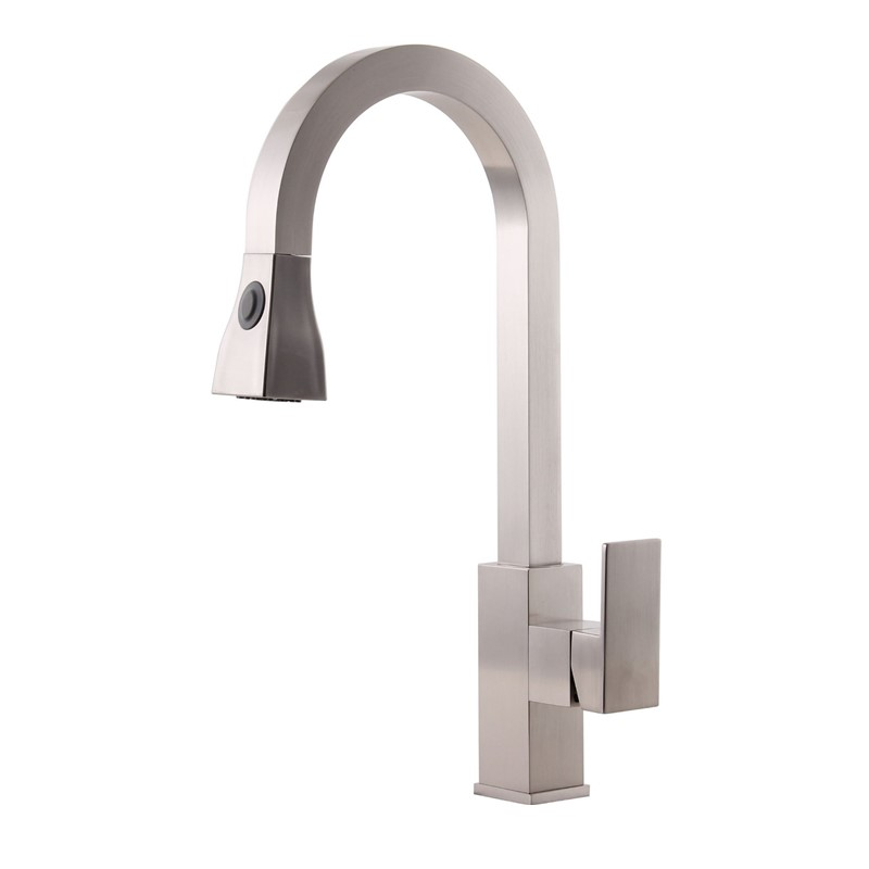 Lovely Ivory Kitchen Faucet #5: 2016 New Arrival Wholesale Solid Brass Heavy Super Quality Square Style  Nickel Brushed Kitchen Faucet With Pull Out Sprayer Head