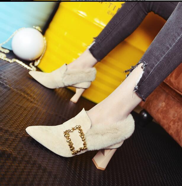 Haute Fourrure Femmes De Lapin Chaussures 1 Professionnel Épais Plus Et Pointu Velours Talons 2 Boucle Automne Poilu Sauvage Avec Hiver 2019 kPTOuZXi