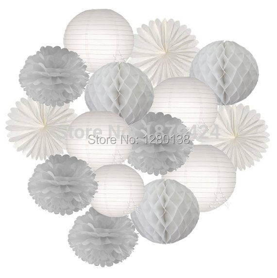 Wedding Party Paper Decoration White Honeycomb Flower Fan Tissue Pom Poms