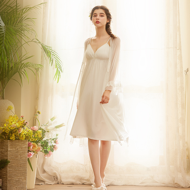 check out great deals convenience goods US $35.69 15% OFF|Sexy Robe Set Cotton Dressing Gown White Lace Bathrobe  Peignoir Sets Negligee Ladies Nighties Gown Women Set Sleep Clothes on ...