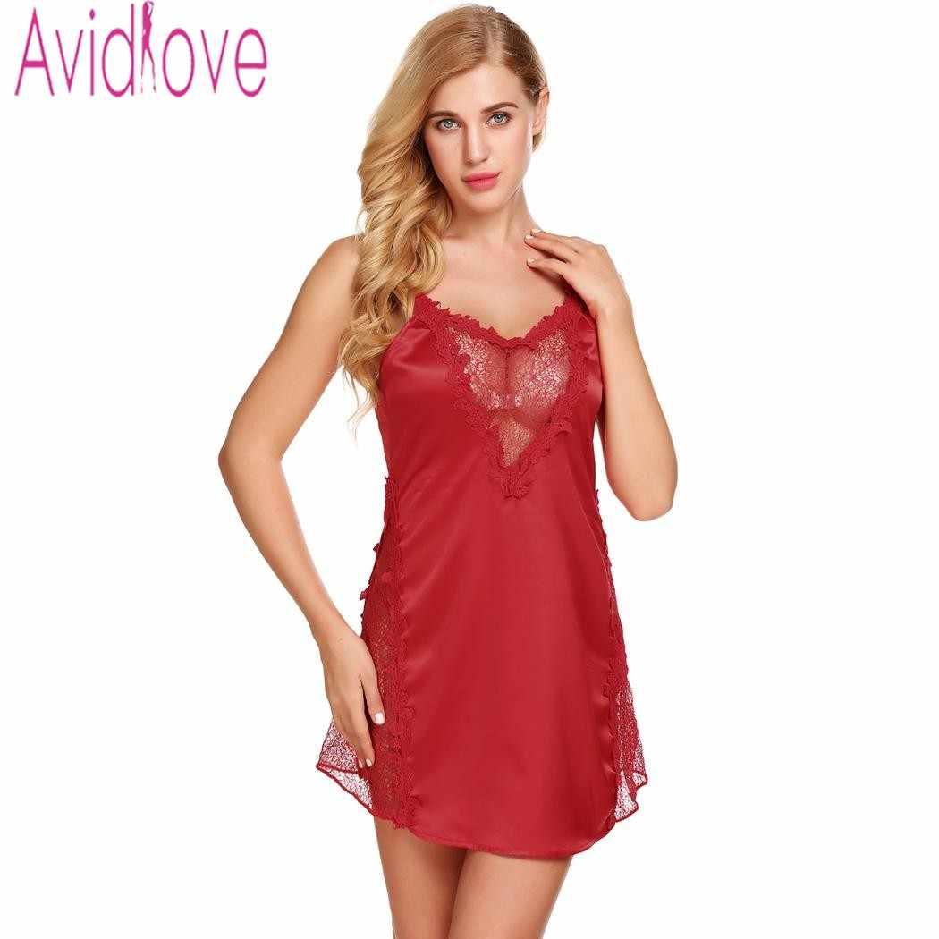 c3b33d4caa ... Avidlove Sexy Lace Satin Nightgown Beckless Nightdress Nighty Women  Silk Sleepwear Chemise Night Dress Plus Size ...