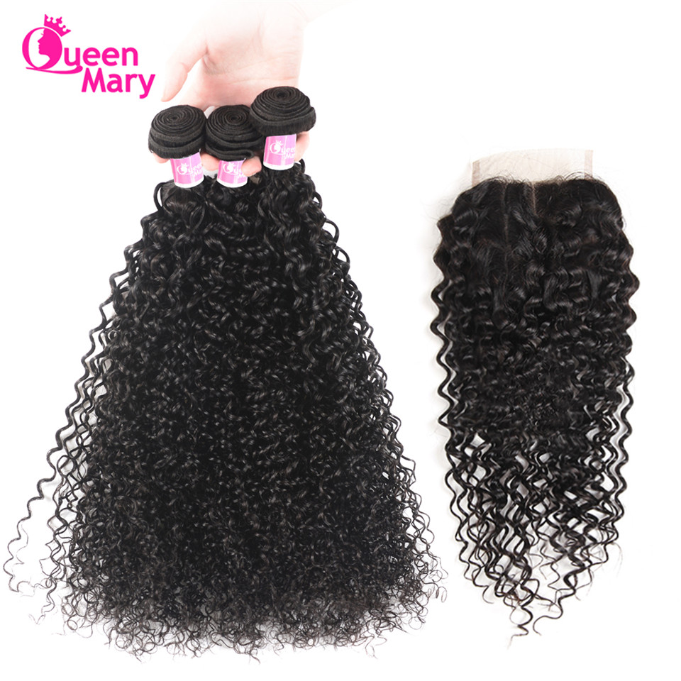 Curly Bundles Closure Human-Hair Mary Hair-Extensions Weave Brazilian with Kinky Non-Remy
