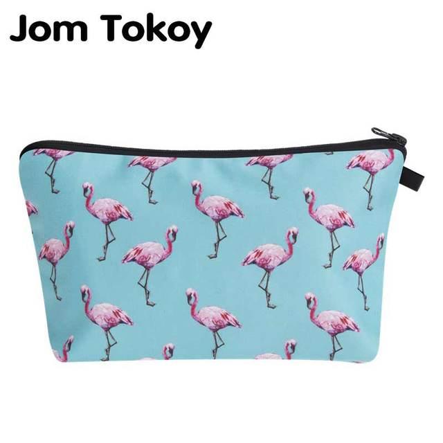 64840379f Jom Tokoy 2018 3D Flamingo impresión bolso cosmético moda mujer marca  maquillaje bolsa