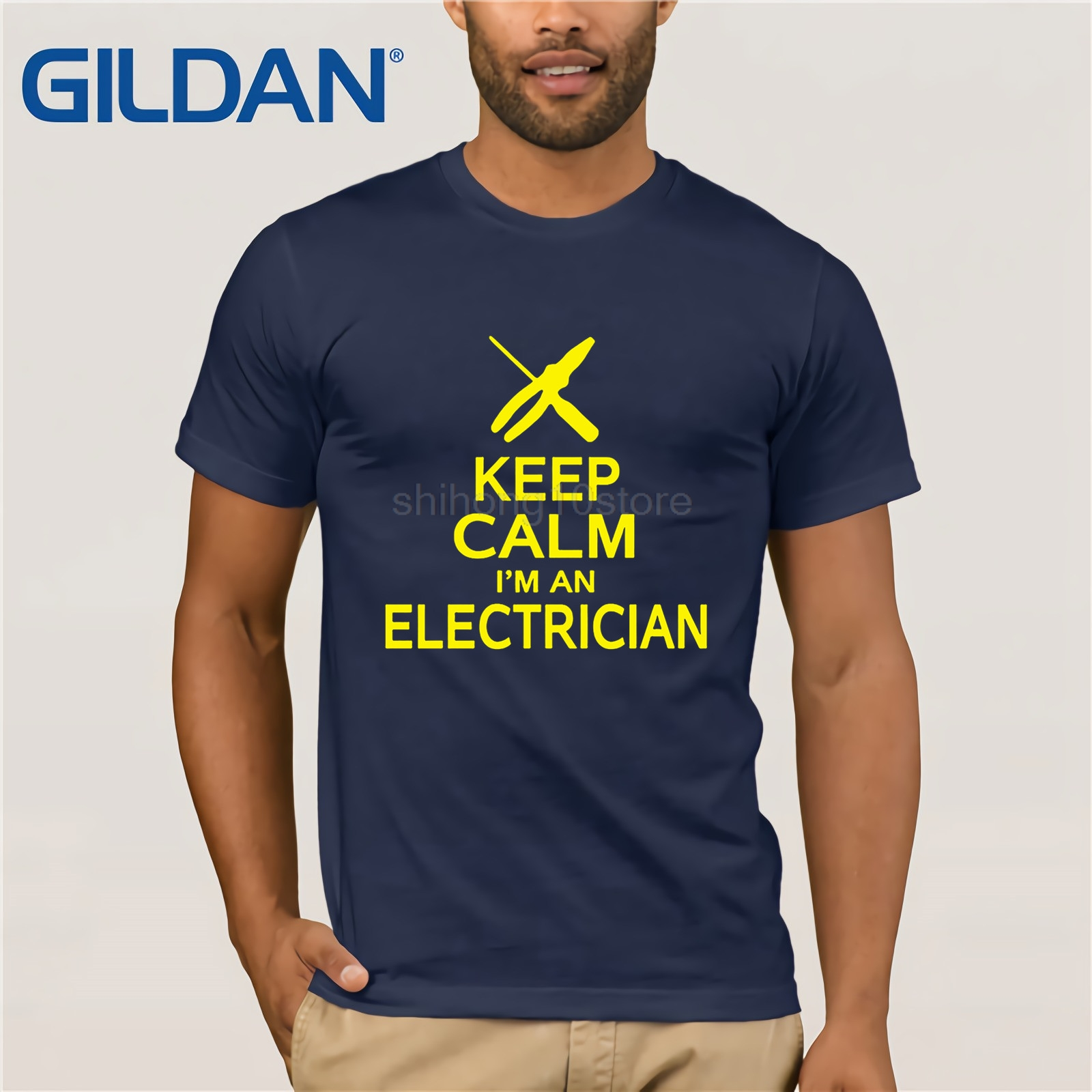 Men's Clothing Gildan Keep Calm Im An Electrician T Shirt Construction Funny Letter Printed Top Tee Summer Short Fashion Men T-shirt
