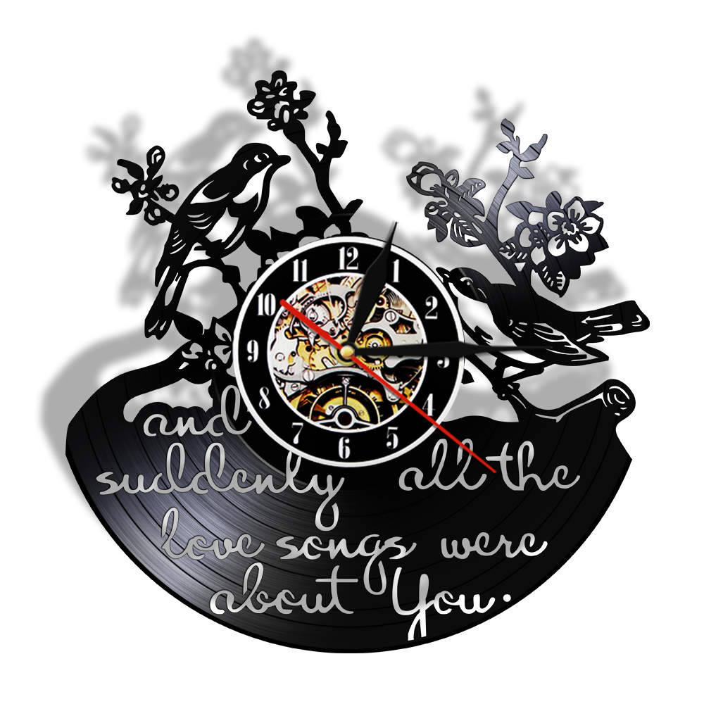 Valentine Birds Pet Animals Vinyl Record Wall Clock All The Love Songs Were All About You Inspirational Quote Modern Clock Watch image