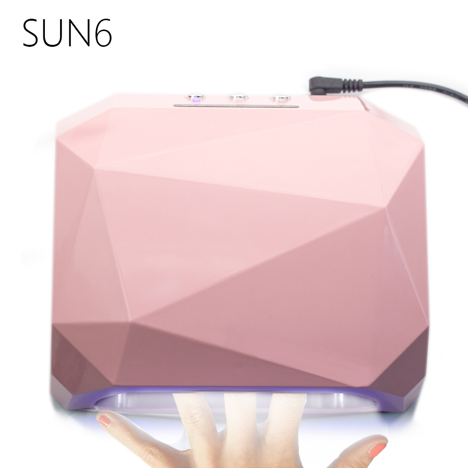 SUN6 AUTO Sensor LED UV Nail Lamp Nail Dryer Diamond Shaped 36W Light 365nm+405nm UV Gel Nails Polish Art Tools 50pcs lot wire hanger fastener hanging photo picture frame quick easy clutch release nickel plate movable head ceiling