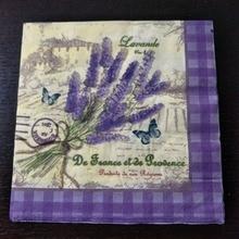 Винтаж с цветами лаванды бабочкой Бумага салфетки кафе и салфетки из ткани для вечеринок украшение в технике декупажа Бумага 33 см* 33 см 20 шт./упак./лот