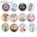 12pcs/lot Mixed styles Dream catcher 18mm Glass snap button For DIY snap button charms bracelets & bangles Jewelry