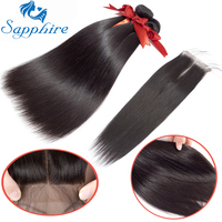Sapphire Hair Brazilian Straight Human Hair Bundles With Lace Closure Natural Black Hair Weaves 3 Bundles