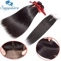 Sapphire Hair Brazilian Straight Human Hair Bundles With Lace Closure Natural Black Hair Weaves 3 Bundles