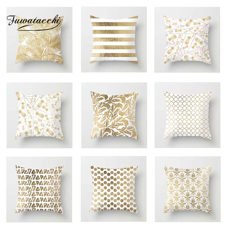 Fuwatacchi Golden Geometric Cushion Cover Floral   Soft Throw Pillow Cover Decorative Sofa Pillow Case Pillowcase