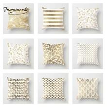 Fuwatacchi Golden Geometric Cushion Cover floral   Soft Throw Pillow Cover Decorative Sofa Pillow Case Pillowcase цены
