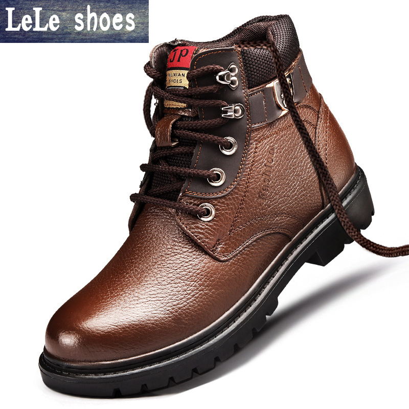 2016 New Brand Winter Men Ankle Martin Boots High Quality Genuine Leather With Fur Timber Snow Boot Bota Shoes Hombre Zapatos z suo brand new winter women motocycle boots leather lace up ankle martin boots shoes black brown high quality