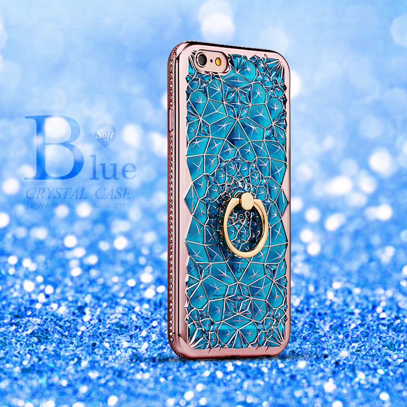 HTB1GXsOQYvpK1RjSZPiq6zmwXXaP For iPhone 11 Pro XS Max XR Case Luxury 3D Soft Ring Capa For iPhone 5 6 6S 7 8 Plus Ring Silicon Glitter Rhinestone Stand Cover