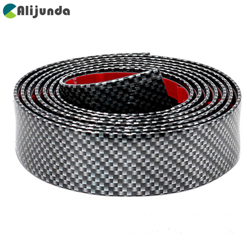 Carbon Fiber Front Rear Bumper Protector Car Side Door Edge Protector Guard Strip Rubber Anti Collision Stickers Car accessories