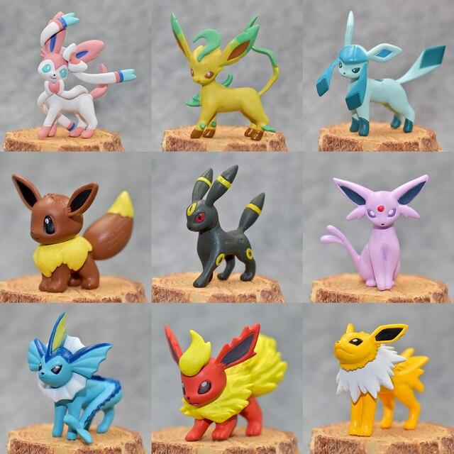 TAKARA TOMY figuras de Anime, eeveee, Glaceon, Vaporeon, Jolteon, Flareon, Leafeon, figuras de anime, figuras de acción de juguete, regalo para niños