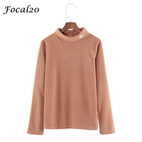 Focal20 Saturn Ricamo Delle Donne In Pile T-Shirt Manica Lunga Dolcevita Autunno Primavera T Shirt Tee Top Streetwear