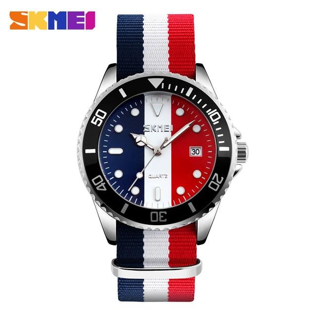SKMEI Lovers Watches Men And Women Fashion Casual Watch Nylon Strap 30M Waterpro