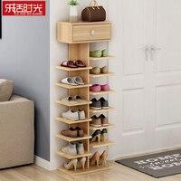 Bastidores de zapatos dobles organizador de scarpiera muebles para el hogar de madera estantería para zapatos para el Gabinete del zapato de la sala de estar con cajón