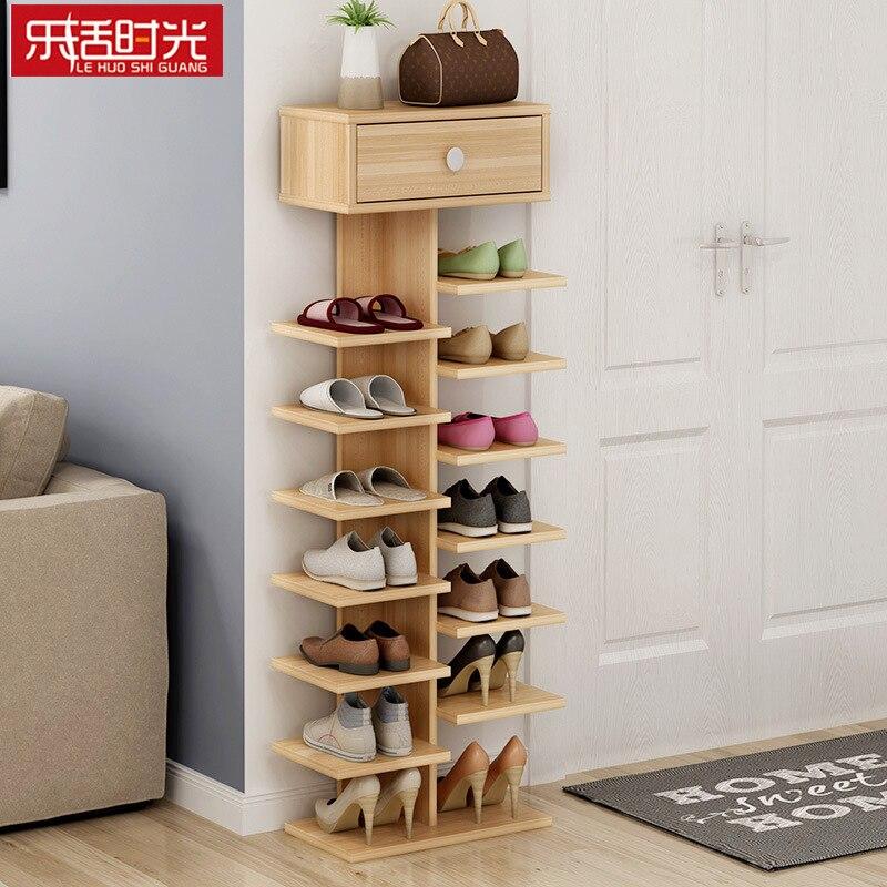 Double porte-chaussures scarpiera organisateur meubles de maison en bois estanteria para zapatos pour salon armoire à chaussures avec tiroir