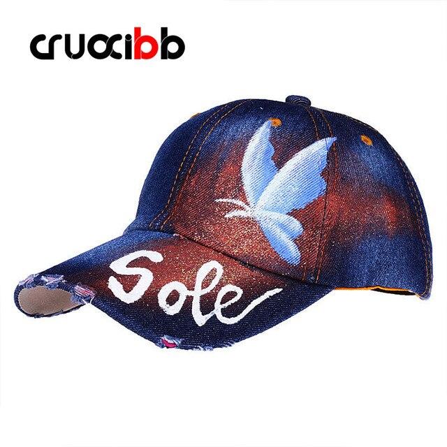 CRUOXIBB Brand Unique Unisex Baseball Caps Women Sole Butterfly Painting Snapback Shiny Bone Fashion Gorras High Quality Art