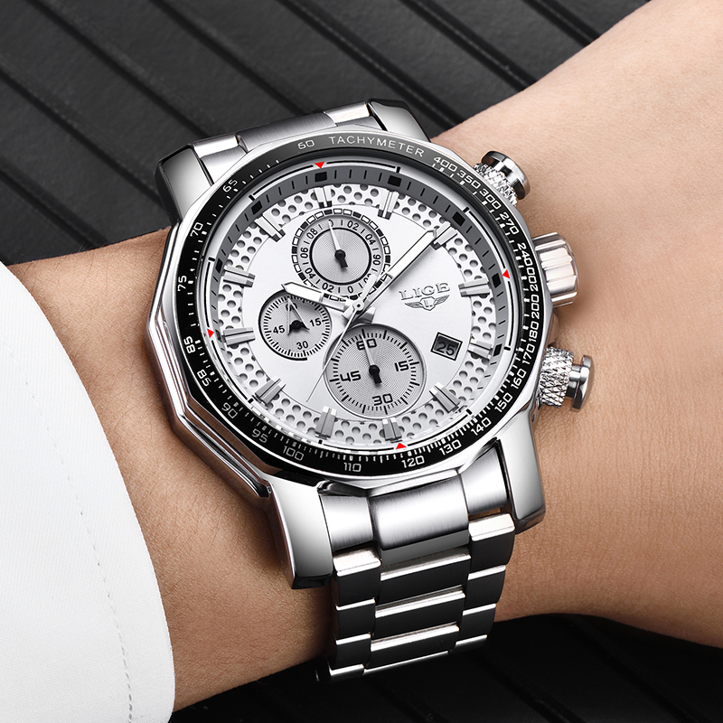Relogio Masculino 2019 NEW LIGE Mens Watches Fashion Chronograph Watch Men Stainless Steel Waterproof Sport Watch Quartz Clock 5