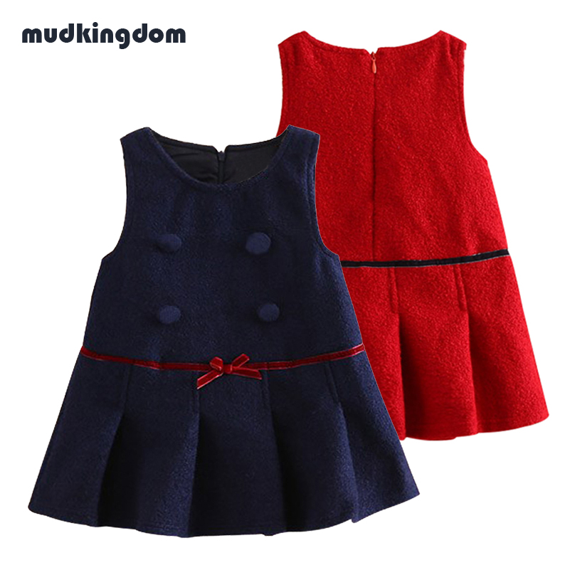Mudkingdom Toddler Girls Winter Dress with Ribbons O Neck Sleeveless Solid Vest Dress Kids Baby Girl Cute Clothes Fall 2017 new kids girls fashion o neck sleeveless dress cute animals print dress girls a line dress clear