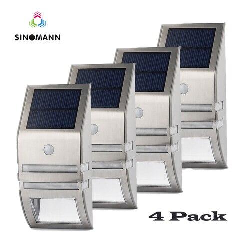 4 conjuntos de led de energia solar sensor de movimento pir lampada de parede ao