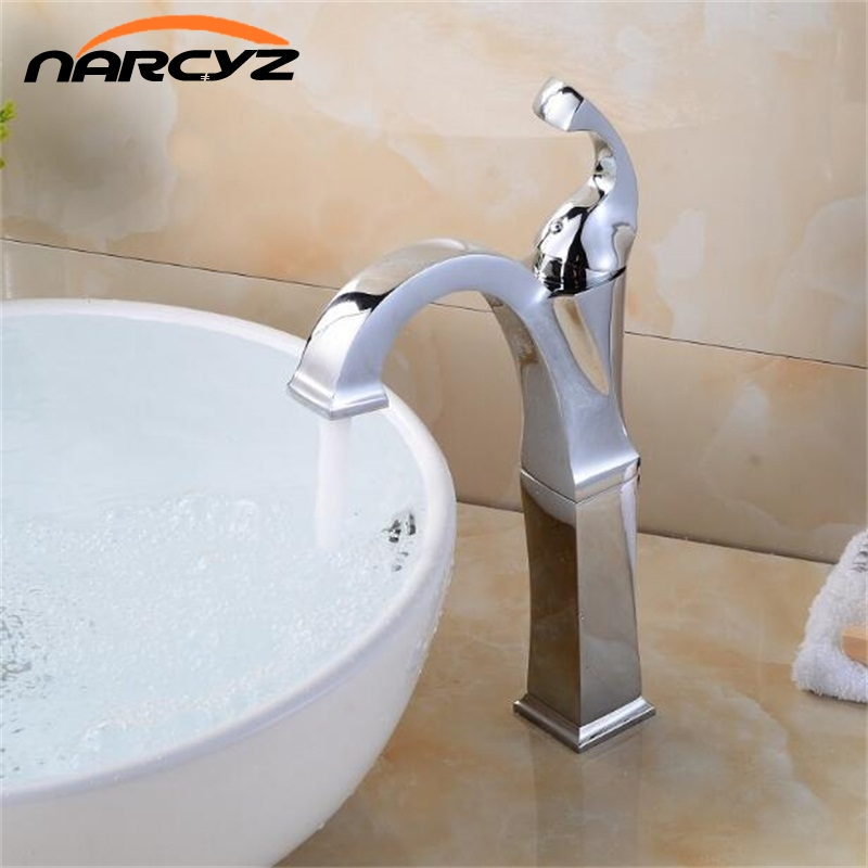 New Style Brass Chrome tall Faucet Bathroom Faucet Vanity Vessel Sinks Mixer Tap Cold And Hot Chrome tall Tap XT520 blanco alta 512319 tap mixing valve oriental style chrome by blanco