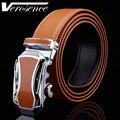 [TG] Venta caliente de Cuero Genuino Brown correa Automática Coche Forma de Hebilla de Cinturón de Hombre Ceinture Cinturones Cowskin para Hombres Pretina