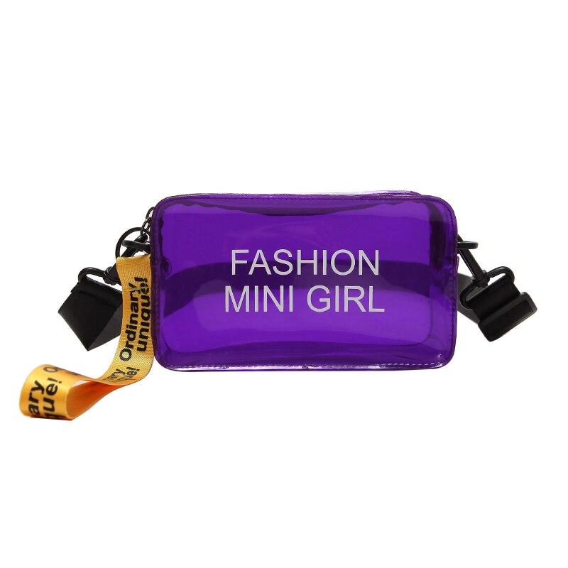 2018 Women Purple Jelly Candy Messenger Bags Summer Beach PVC Transparent Shoulder Bag For Women Female Strap Bags Bolsa 040